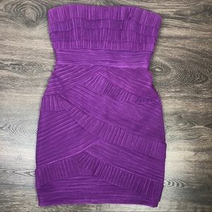Purple Tiered Strapless Cocktail Dress Sz 8